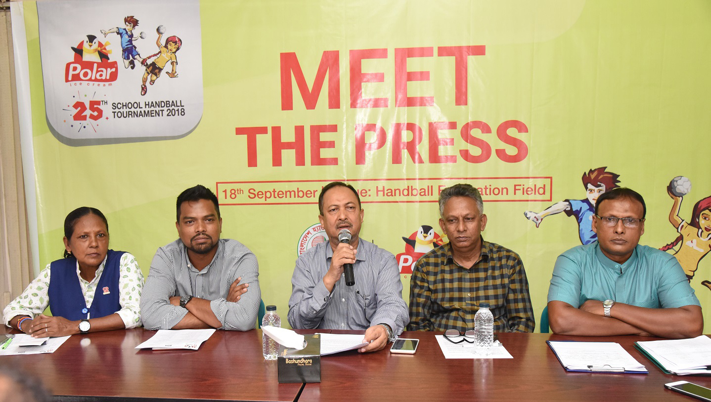 Chairman of the Tournament Committee (Boys' Division) of the Polar Ice Cream 25th School Handball (Boys' & Girls') Tournament Golam Habib addressing a press conference at the office room in Bangladesh Handball Federation on Tuesday.