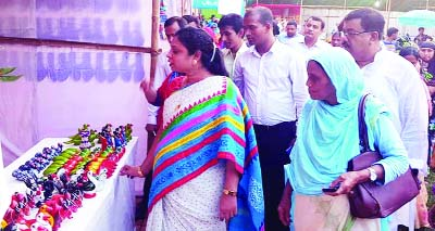 NILPHAMARI: Begum Nazia Shirin, DC, Nilphamari visiting  different stalls  of the month- long Small and Cottage Fair at Syedpur Upazila as Chief Guest on Wednesday.
