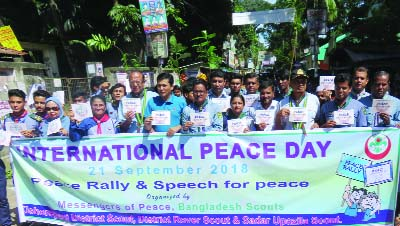 KISHOREGANJ: Kishoreganj District , Rover and Sadar  Scout brought out a rally marking the International Peace Day on Thursday.