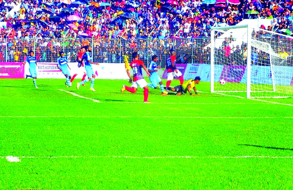 An action from the FIFA international friendly club match between Bashundhara Kings of Bangladesh and New Radiant Sports Club of Maldives, at Sheikh Kamal Stadium in Nilphamari on Friday. Bashndhara Kings defeated New Radiant Sports Club by 4-1 goals.