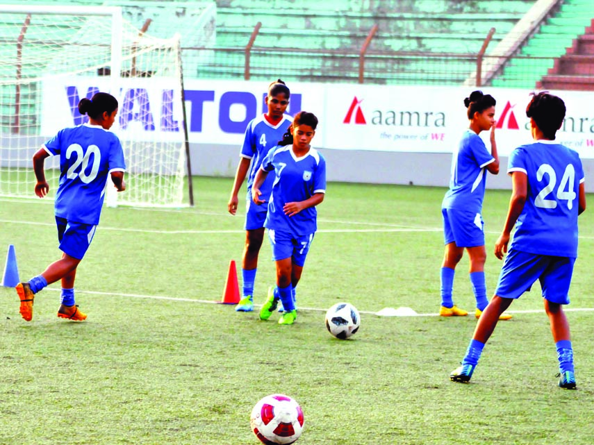 Players of Bangladesh Under-16 Women's Football team during their practice session at the Bir Shreshtha Shaheed Sepoy Mohammad Mostafa Kamal Stadium in the city's Kamalapur on Saturday.