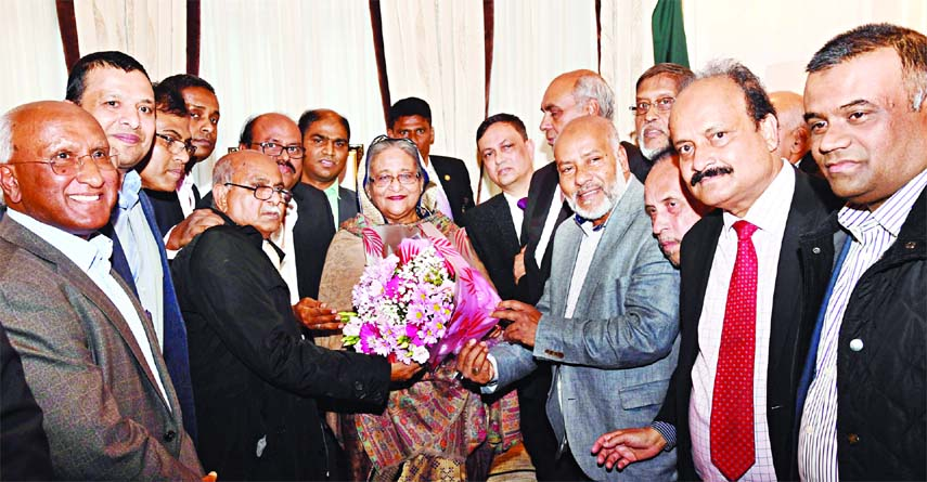 Prime Minister Sheikh Hasina accorded a reception by the London chapter of Awami League after her reaching in London at Hotel Claridges on Saturday.