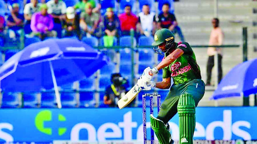 Mahmudullah Riyad of Bangladesh plays a shot during the super four match of the Asia Cup between Bangladesh and Afghanistan at Abu Dhabi on Sunday. Bangladesh scored 249 for the loss of seven wickets in the allotted 50 overs thanks to Mahmudullah, who notched up the team\'s highest of 74.