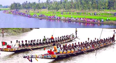 LALMONIRHAT: Hundreds of people enjoying  traditional boat race competition at Motahat Hossain Bazar Point  in Saniyazan River at Patgram Upazila on Sunday.