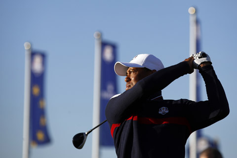 Tiger Woods of the US on the practice range at Le Golf National in Guyancourt, outside Paris, France, Tuesday on Tuesday. The 42nd Ryder Cup will be held in France from Sept. 28-30 at Le Golf National.
