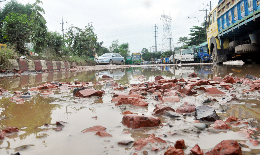 The dilapidated  Port Connecting Roads need immediate repair. This snap was taken yesterday.
