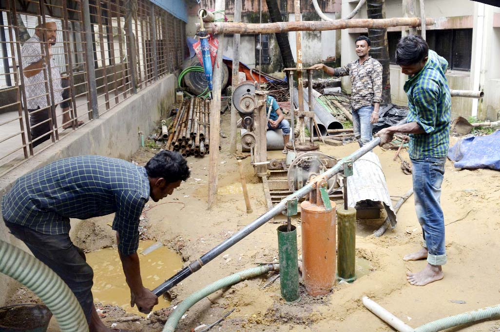 The installation  of deep tubewell  and Water Treatment Plant is going on at Chattogram Medical College Hospital  by KSRM Group of Industries. This picture was taken yesterday.