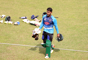 Imrul Kayes during the practice session of Bangladesh National Cricket team at the Sher-e-Bangla National Cricket Stadium in the city's Mirpur on Sunday.