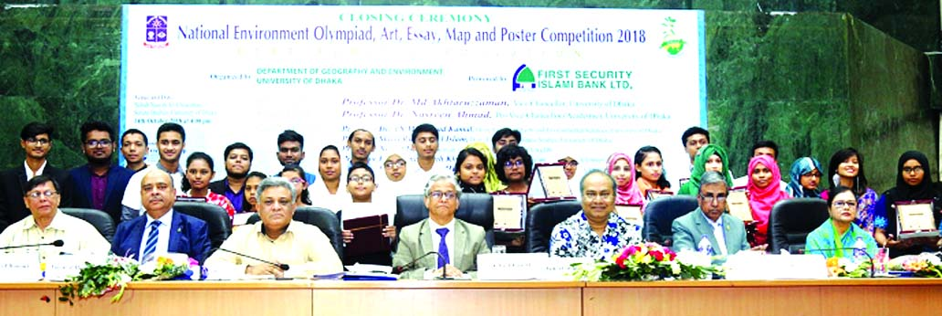 First Security Islami Bank Ltd sponsored 'the National Environment Olympiad, Art, Essay, Map and Poster Competition-2018' organized by the Department of Geography and Environment of Dhaka University. The closing ceremony of this event was held at Nabab Nawab Ali Chowdhury Senate Bhaban of Dhaka University on Sunday.  Prof. Dr. Akhtaruzzaman, Vice-Chancellor, the University was present as chief guest in the ceremony. Syed Waseque Md Ali, Managing Director of the Bank was also present.