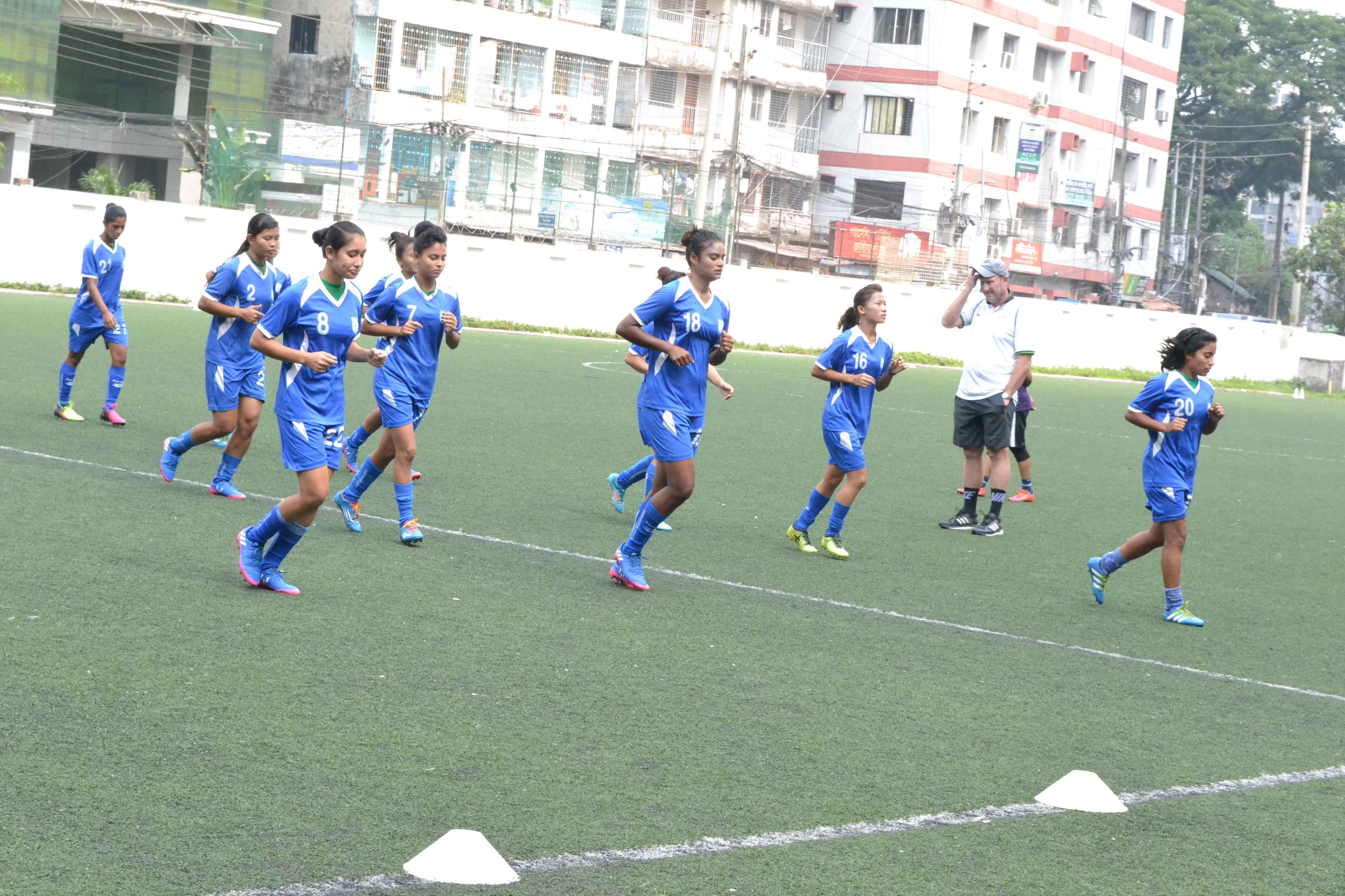 Members of Bangladesh Under-19 National Women's Football team taking part at  the practice at the BFF Artificial Turf on Tuesday.