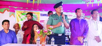 GAZIPUR: Y M Belalur Rahman, SP, Gazipur Metropolitan Police  speaking at a discussion meeting at Ghachha Thana area  on the occasion of the Durga Puja yesterday.