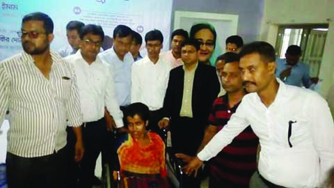 NANDAIL ( Mymensingh) : Wheel chairs were distributed among disabled persons in Nandail organised by Youth Bangla Foundation on Thursday . Md Musaddek Mehedi Imam,  UNO, Nandail  was present as Chief Guest  and Social  Welfare Officer Md Insan Ali was present as special guest.