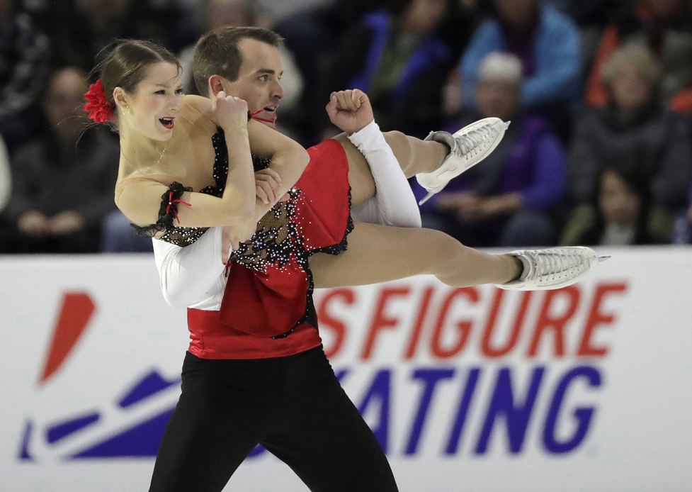 Annika Hocke and Ruben Blommaert of Germany, perform during the pairs short program at Skate America, in Everett, Wash on Friday.