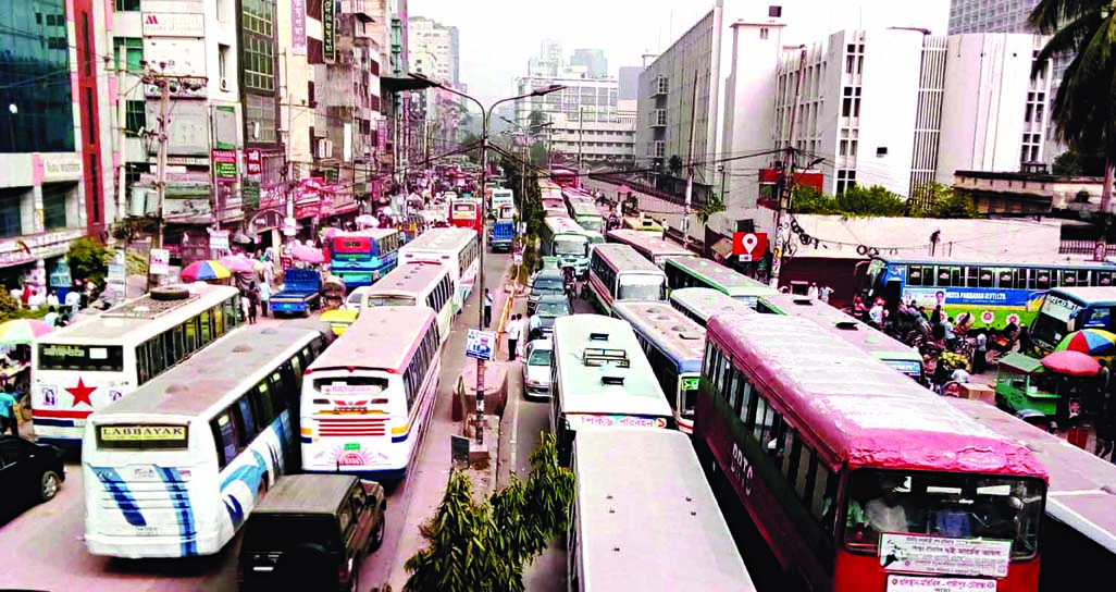 City experiences huge traffic gridlock  as various organizations held meetings in front of Jatiya Press Club and Jatiya Party's meetings at Suhrawardy Udyan on Saturday.