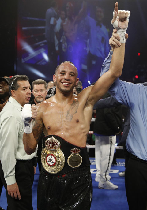 Rob Brant celebrates after defeating Ryota Murata of Japan, during a middleweight title bout in Las Vegas on Saturday.