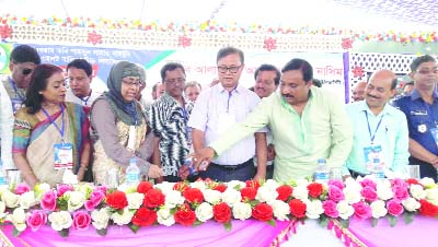 FENI:  Guests  cutting cake at the  inaugural programme of Golden Jubilee of  Parashuram Poet Shamsun Nahar Mahmud Pilot Girls High School on Saturday. Among others, Kamal Uddin Mojumder , Chairman, Pashuram Upazila Parishad presided over the programme.