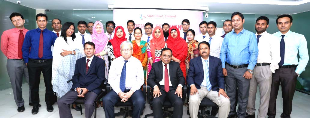 Md. Golam Faruque, Managing Director of South Bangla Agriculture and Commerce (SBAC) Bank Limited, poses for a photograph with the participants of 10th Foundation Training Course at the Bank's Training Institute in the city on Sunday. Tariqul Islam Chowdhury, DMD and Md. Nazrul Islam, Principal of the Training Institute were also present.
