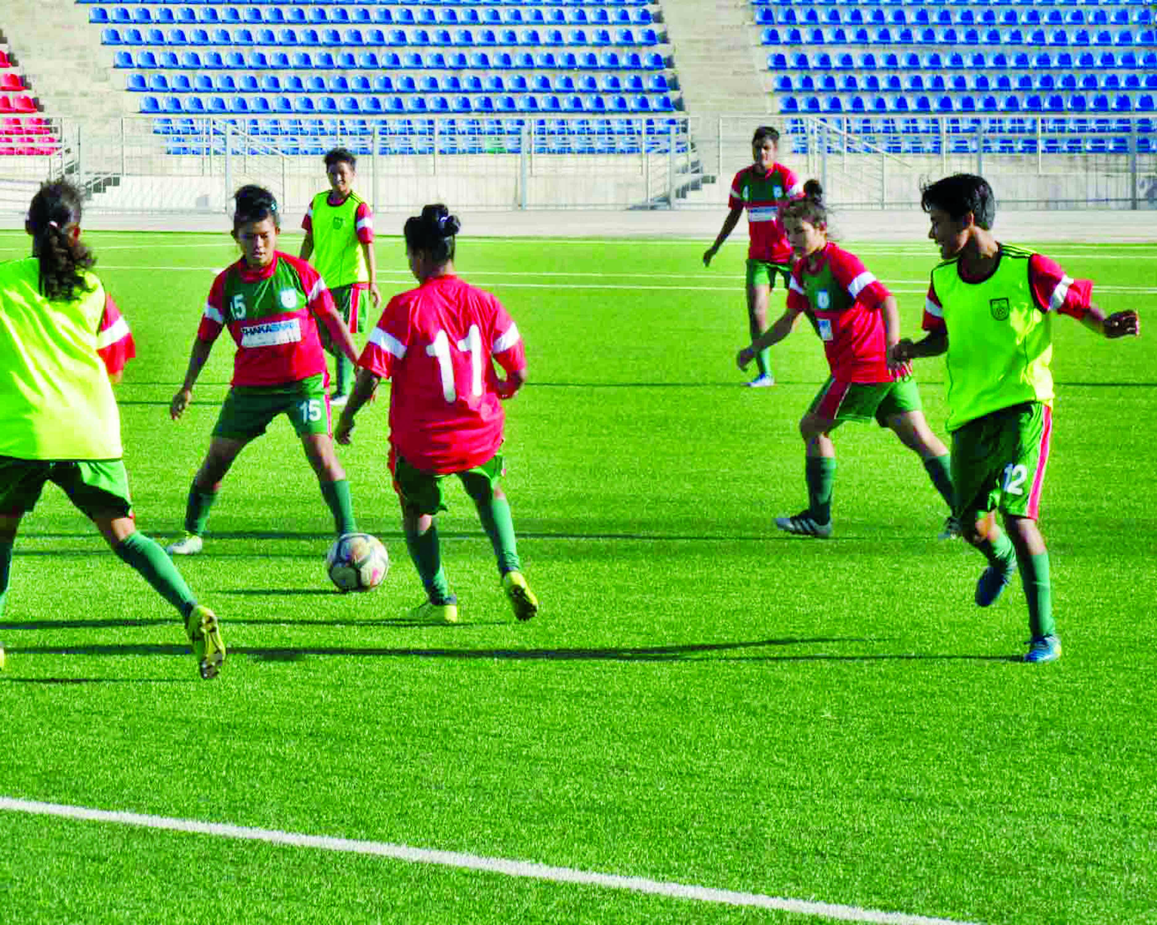 Players of Bangladesh Under-19 National Women's Football team taking part at the practice at Dushanbe in Tajikistan on Tuesday.
