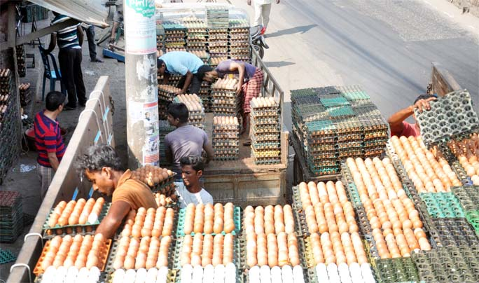 Egg's price still high despite of huge eggs supplies at Pahartali Bazar. This snap was taken yesterday.
