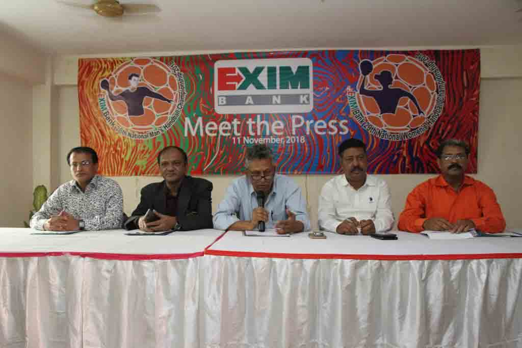 General Secretary of Bangladesh Handball Federation Asaduzzaman Kohinoor speaking at a press conference at the conference room in Shaheed Captain M Mansur Ali National Handball Stadium on Sunday.