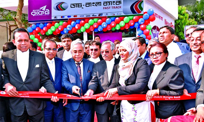 Chief Justice Sayed Mahmud Hossain, inaugurating the Fast Track of Dutch-Bangla Bank Limited at Supreme Court premises on Sunday as chief guest. Advocate Jainul Abedin, President, Barrister AM Mahbub Uddin Khokon, Secretary of Supreme Court Bar Association and Abul Kashem Md. Shirin, Managing Director of the Bank were also present.
