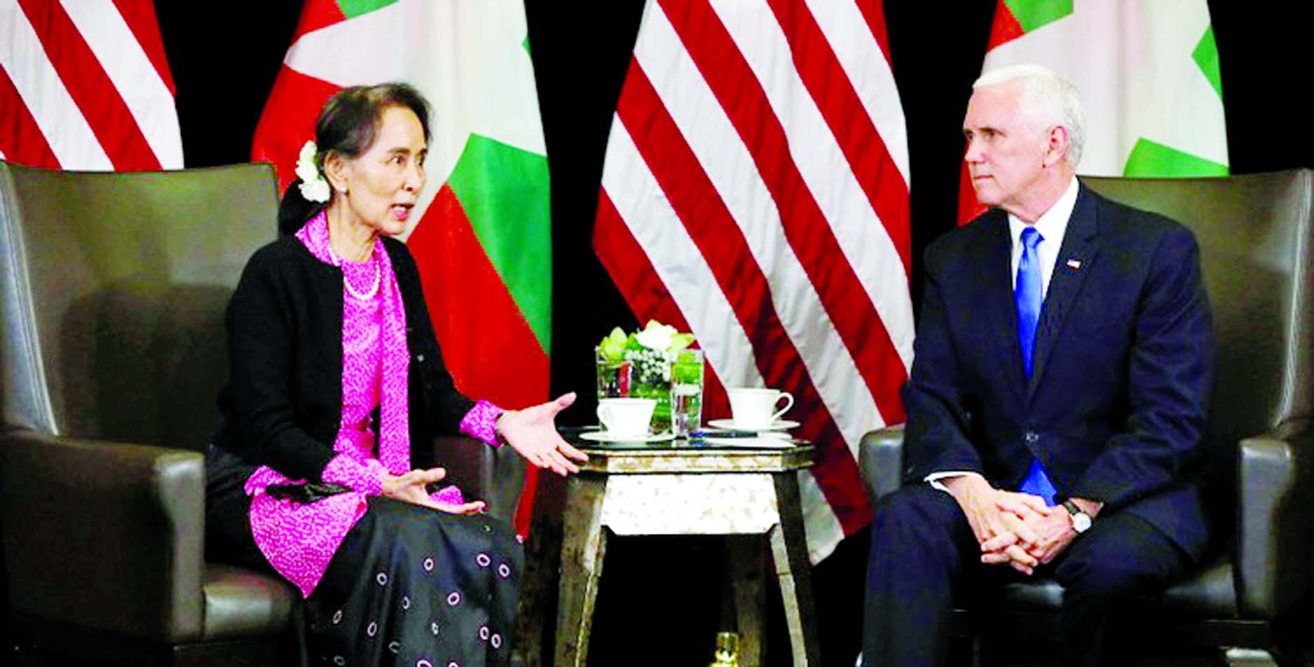 Pence issues sharp rebuke to Suu Kyi