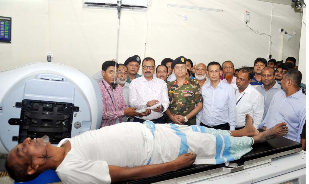 CCC Mayor AJM Nasir Uddin inaugurating the operation of a new radiotherapy machine at Chittagong Medical College Hospital (CMCH) on Monday.
