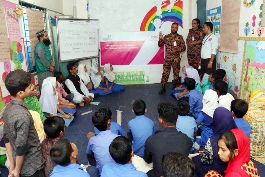 Earthquake preparedness training for children