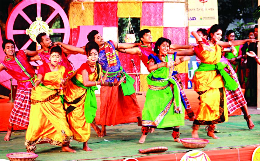 Marking the Nabanna Utsav, artistes performing a dance programme at the Bakultala of Faculty of Fine Arts on Thursday.