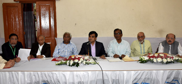 Deputy Commissioner of Dhaka District Tofazzal Hossain Mia (centre) speaking at the Annual General Meeting (AGM) of Wari Club at the Auditorium in Wari Club on Saturday.
