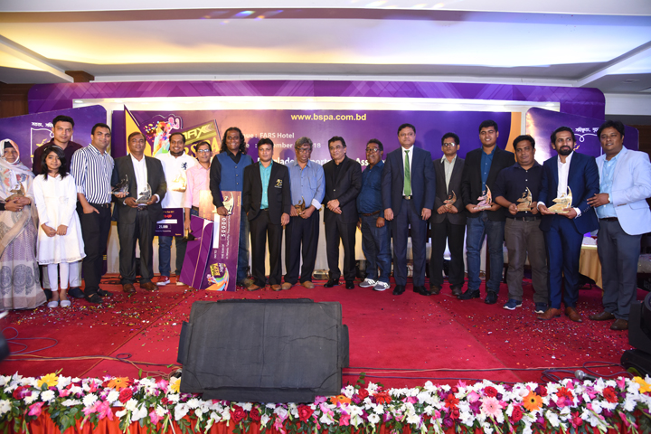 The winner journalists of different categories nominated by Bangladesh Sports Press Association (BSPA) with the guests and officials of BSPA pose for a photo session at the FARS Hotel in the city on Saturday.