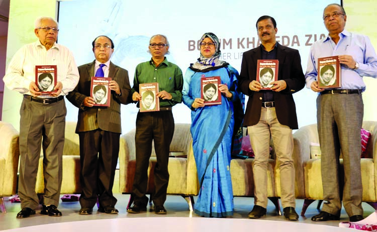 The cover unwrapping ceremony of book tilted -Begum Khaleda Zia : Her life , her way written by eminent  journalist Mahfuz Ullah was held  at Lakeshore Hotel in the city yesterday. Author of the book Mahfuz Ullah  seen among others with the book at the ceremony .