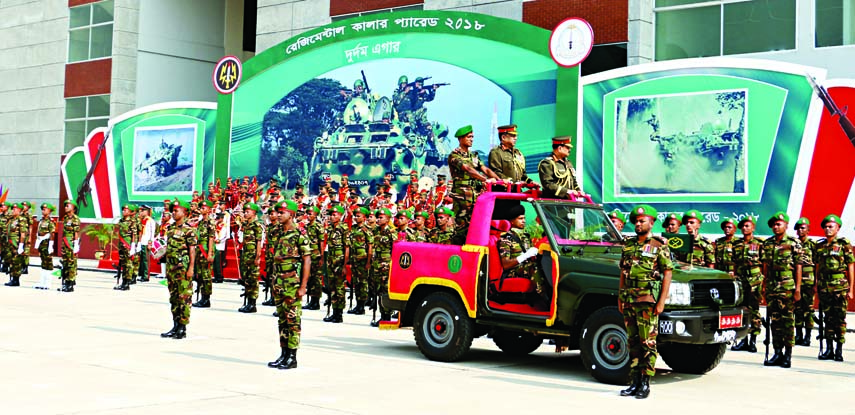 Bangladesh Army Chief Aziz Ahmed inspcting parade on occasion of endorsing regimental colour to Adhoc 11 Bangladesh Infantry Regiment (Machanised ) at CMP Center and School Parade Ground in Savar Cantonment  yesterday.