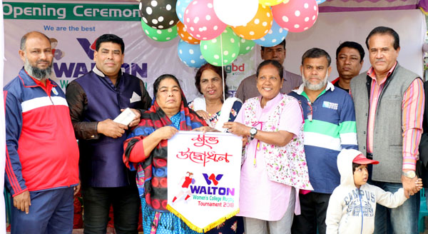 Noted sports organizer Farida Akter Begum inaugurating the Walton 3rd Inter-College Women's Rugby             Competition by releasing the balloons as the chief guest at the Paltan Maidan on Saturday.