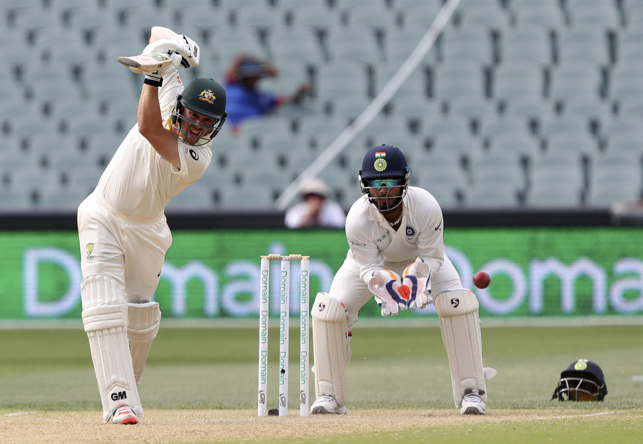 Australia's Travis Head bats on day four during the first cricket test between Australia and India in Adelaide, Australia on Sunday.
