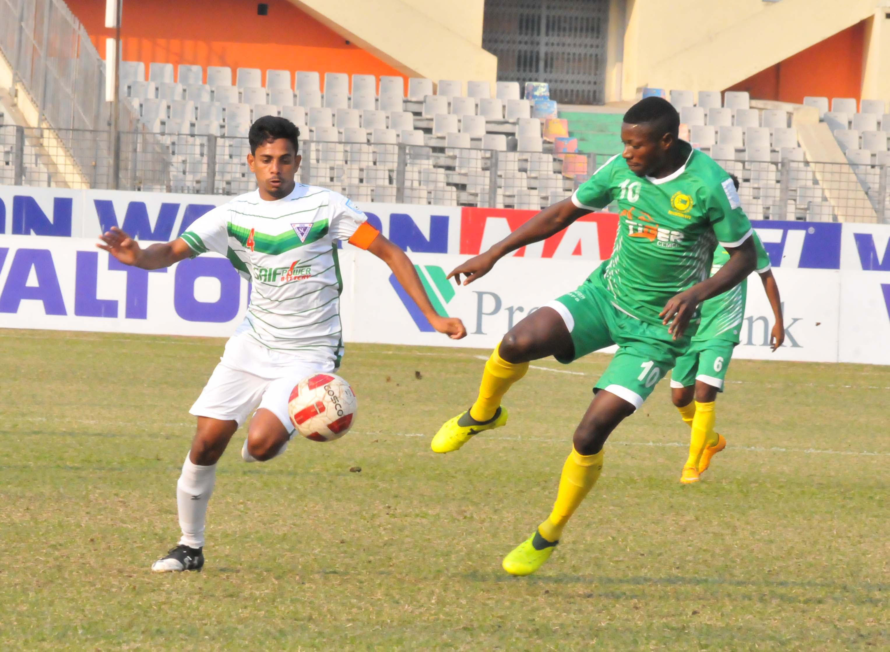 A view of the football match of the Walton Independence Cup between Rahmatganj MFS and Nofel Sporting Club at the Bangabandhu National Stadium on Sunday. Rahmatganj defeated Nofel by three goals to nil.