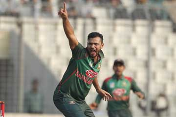 Mashrafe Bin Mortaza of Bangladesh reacts after dismissal of Darren Bravo during the first One Day International  match between Bangladesh and West Indies at the Sher-e-Bangla National Cricket Stadium in the city's Mirpur on Sunday. Mashrafe grabbed three wickets at the cost of 30 runs.