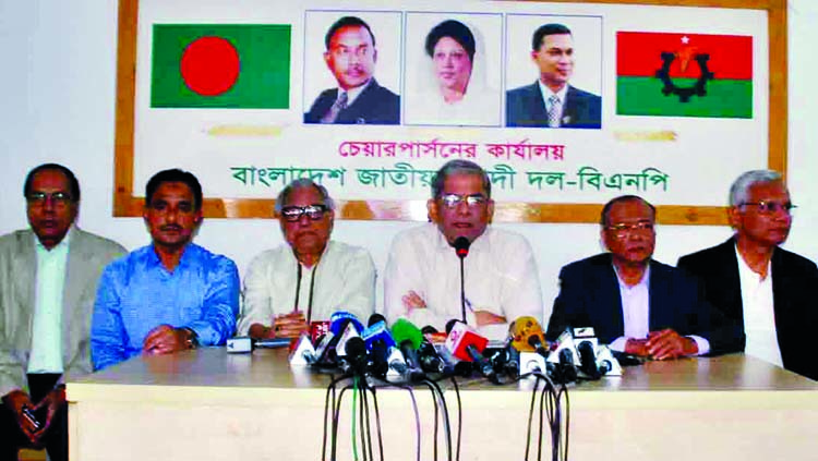 BNP Secretary General Mirza Fakhrul Islam Alamgir speaking at a press conference at the party chief's Gulshah office in the city on Monday in protest against Awami League General Secretary Obaidul Quader's speech on Fakrul's meeting at Pakistan Embassy and the party's Acting Chairman Tarique Rhaman's meeting with ISI.