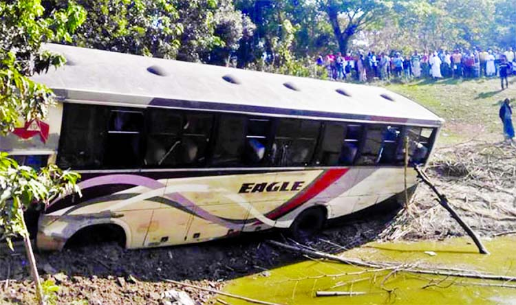A Dhaka -bound bus skidded into roadside ditch on Dhaka-Khulna Highway as driver lost control of the vehicle leaving two people dead and 3 others injured. This photo was taken from Narail on Monday.