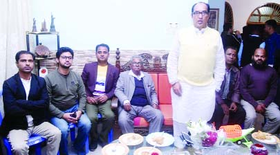 KULAURA(Moulvibazar): MM Shaheen, candidate for Moulbvibazar -2 seat  and Chairman , Thikana Group talking to journalists at his Gusagul residence in Kulaura Upazila town of Moulvibazar recently.