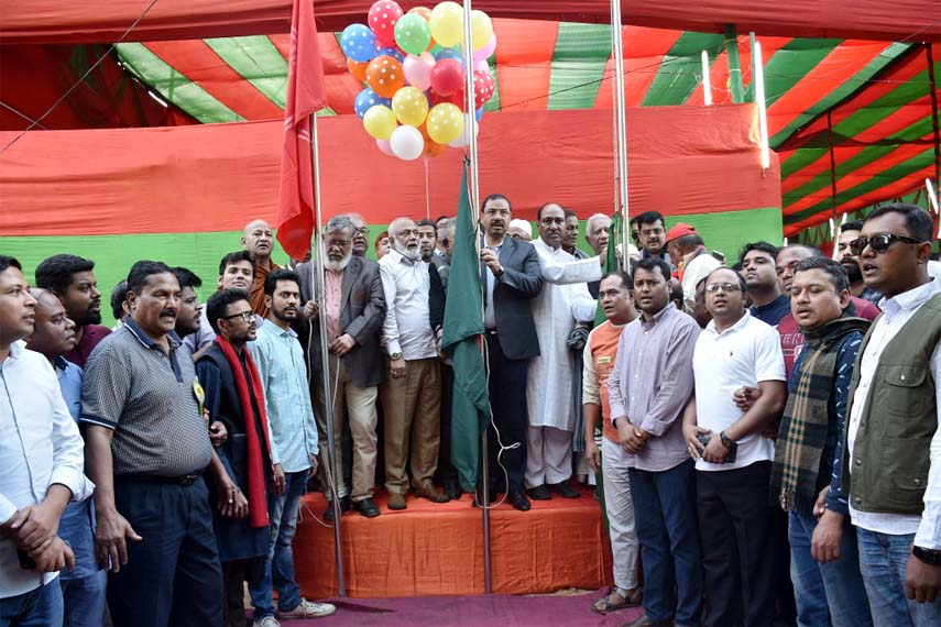 CCC Mayor A J M Nasir Uddin inaugurating Bijoy Mela in the Port City yesterday.