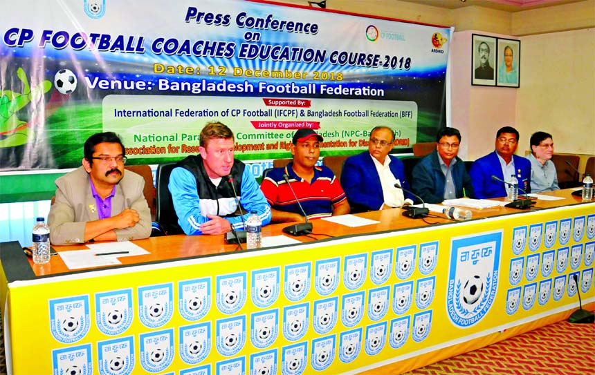 Technical & Strategic Director of Bangladesh Football Federation (BFF) Paul Thomas Smalley speaking at a press conference at the conference room of BFF House on Wednesday.