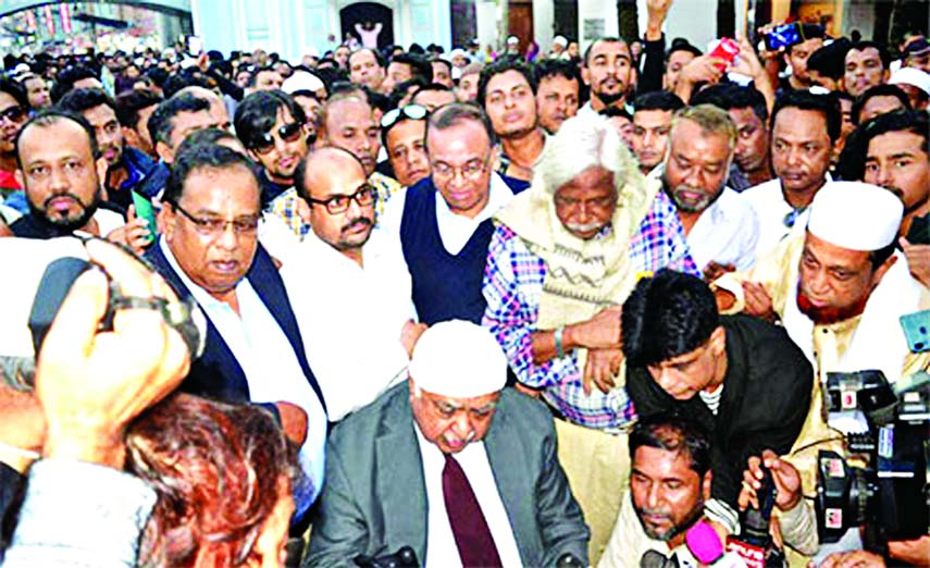 Oikyafront Convener Dr Kamal Hossain along with other leaders offering munajat at the Shahjalal's (RA) Mazar in Sylhet before formally launching election campaign on Wednesday.