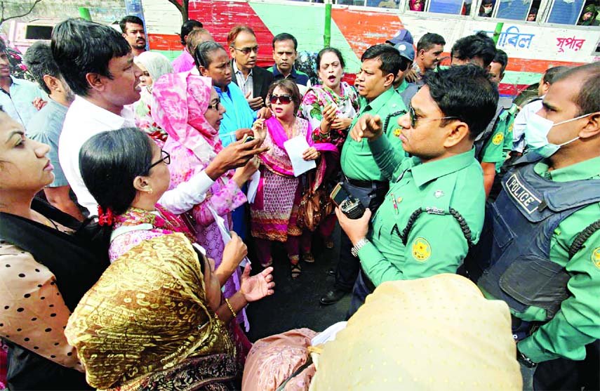 Police trying to alert BNP candidate for Dhaka-9 seat Afroza Abbas against possible fresh violence as she and her supporters were earlier attacked twice by some  ruling party followers. This photo was taken from Bashabo area on Wednesday.