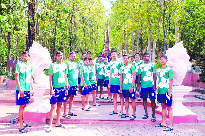 Members of Bangladesh Under-15 Football team go out for a walk at Buriram in Thailand on Thursday.