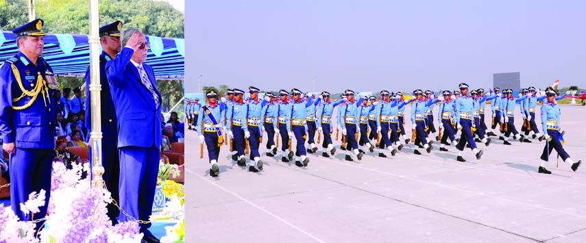 President Abdul Hamid taking salute at the President Parade marking the commission of 75 BAFA (Bangladesh Air Force Academy) Course and Direct Entry 2018 course of Bangladesh Air Force at its Academy parade ground in Jashore on Wednesday.