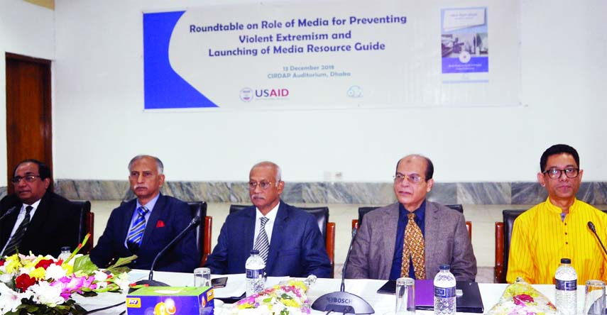 Prime Minister's Media Adviser Iqbal Sobhan Chowdhury, among others, at a roundtable on 'Role of Media for Preventing Violent Extremism' and Launching of Media Resource Guide organised by USAID in CIRDAP auditorium in the city on Thursday.