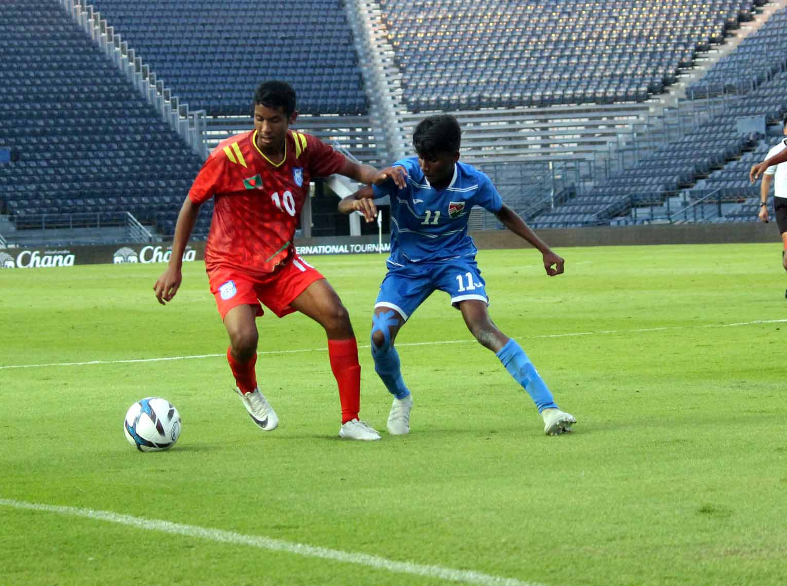 An action from the football match of the UEFA Under-15 Friendly Football Tournament between Bangladesh Under-15 Football team and Maldives Under-15 Football team at Buriram in Thailand on Friday. Bangladesh drubbed Maldives by ten goals to nil.
