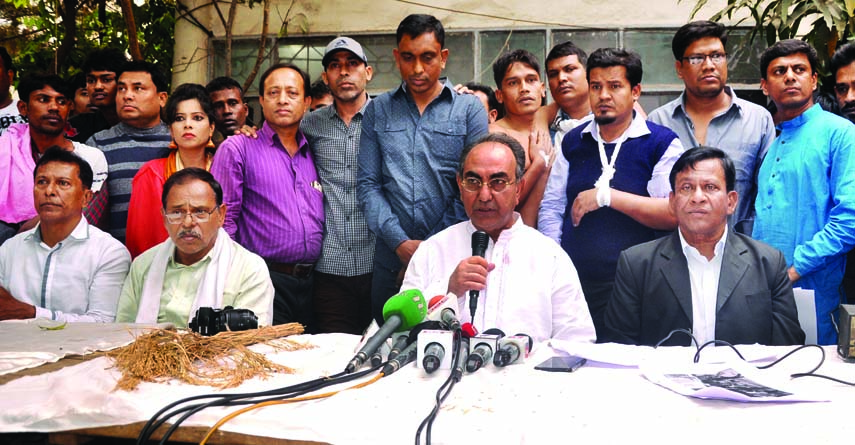 BNP candidate of Dhaka-8 constituency Mirza Abbas speaking at a prèss conference at his residence in the city on Saturday in protest against attack on his electioneering in the city's Segunbagicha area.