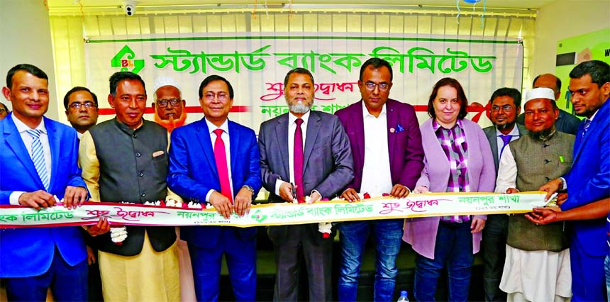 Mamun-Ur-Rashid, Managing Director of Standard Bank Limited, inaugurating its 127th branch at Nayanpur Bazar in Sreepur in Gazipur recently. Md. Tariqul Azam, AMD, and other senior official of the Bank and local elites were also present.